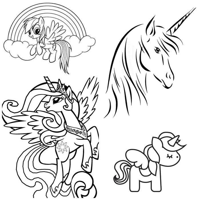 einhorn zum ausmalen, freie vorlagen, ausmalvorlagen mit unicorns als mtoive