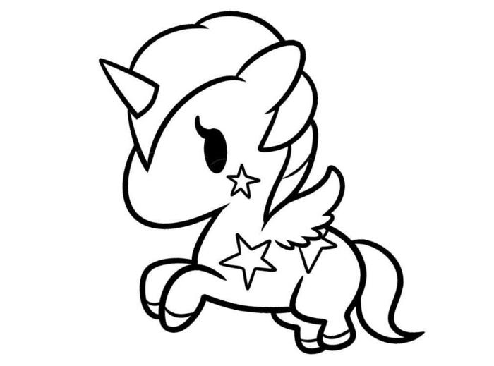süßes bild, einhorn zum ausmalen, kleines fabeltier, unicorn mit sternen