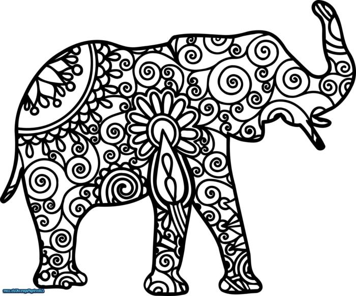 Ausmalbilder Mandala Tiere, Bild von einem Elefanten mit geometrischen Figuren und Blumen