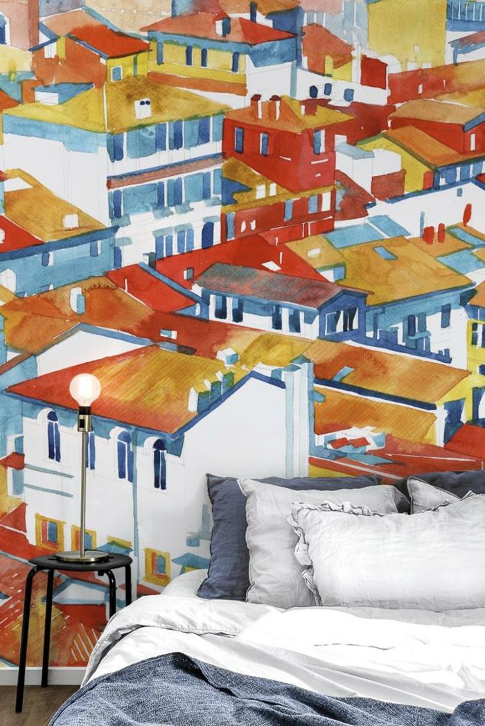 Fototapeten von Photowall de, Einrichtung vom Schlafzimmer, bunte Wandgestaltung mit abgebildeten Häusern