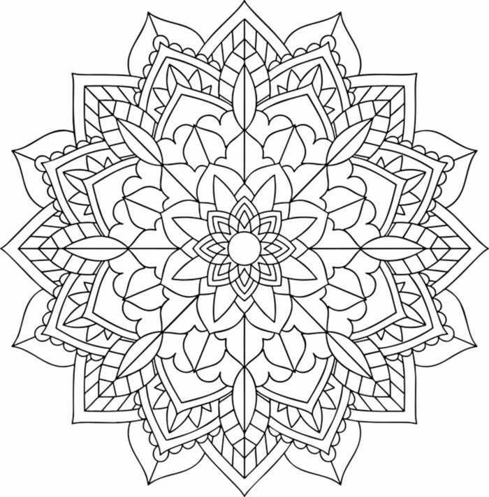 Ausmalbilder zum Ausdrucken kostenlos, Blumen mit Mandala Muster zum ausmalen für Kinder
