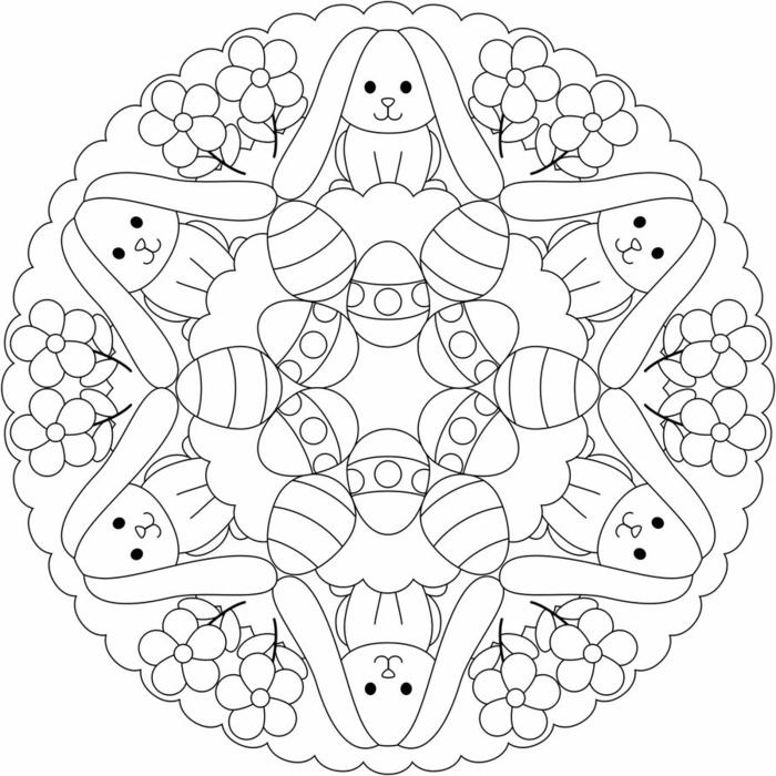 kreisförmiges Bild mit abgebildeten Hasen Blumen und Eier, Mandala zum Ausdrucken Kinder