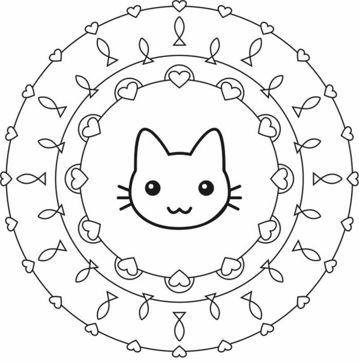 Malvorlagen zum ausdrucken, gezeichnete kleine Herzen und Fische, Katze in der Mitte, Mandala Muster