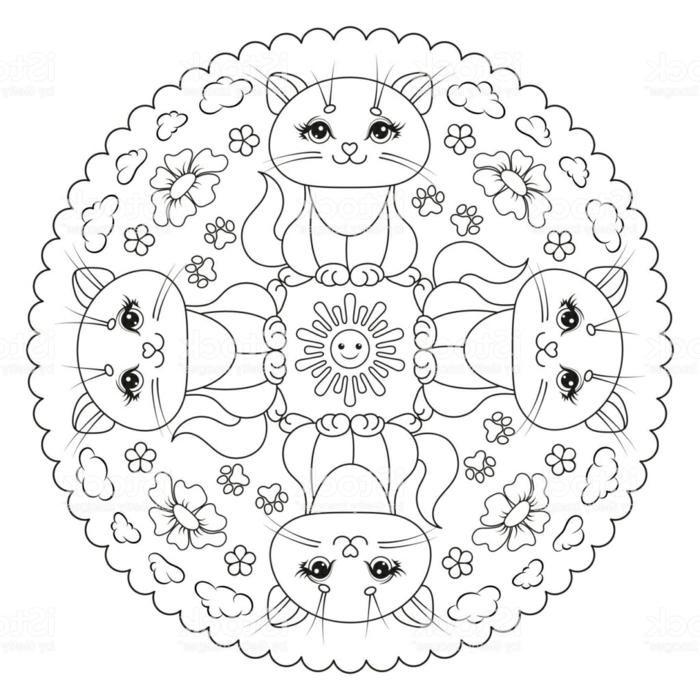 Kreative Mandalas zum ausdrucken, abgebildete Katzen und Blume, Sonne in der Mitte