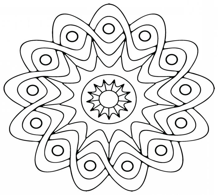 Bild im Blumen Muster mit einer Sonne in der Mitte, kleine Kreise, Mandala Kinder zum ausmalen