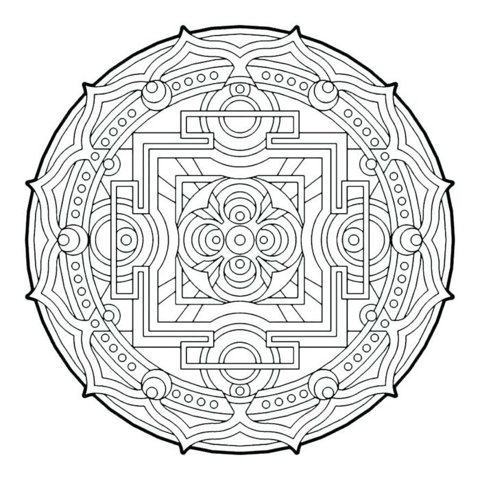 kreisförmiges Bild mit geometrischen Muster, Ausmalbilder zum ausdrucken mit Mandala Figuren
