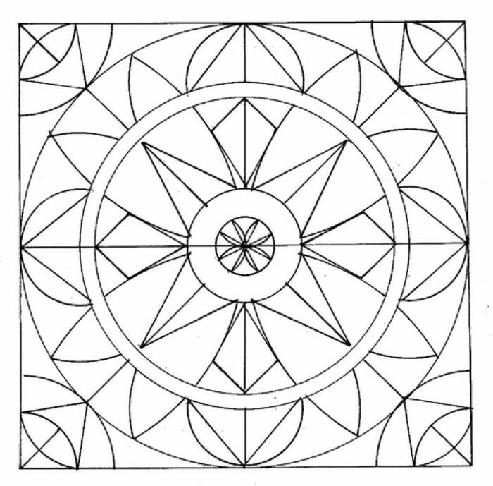 quadratisches Bild mit Kreisformen und geometrischen Figuren, Frühlingsbilder zum ausdrucken mit Mandala Muster