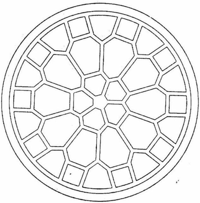 Bild mit geometrischen Mustern in der Form einer Blume, Ausmalbider Kostenlos mit Mandala Figuren
