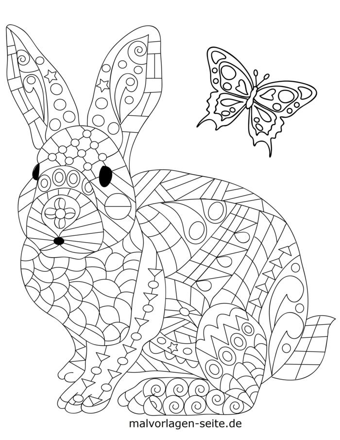 Ausmalbilder Mandala Tiere, Hase und Schmetterling mit geometrischen Mustern und Figuren