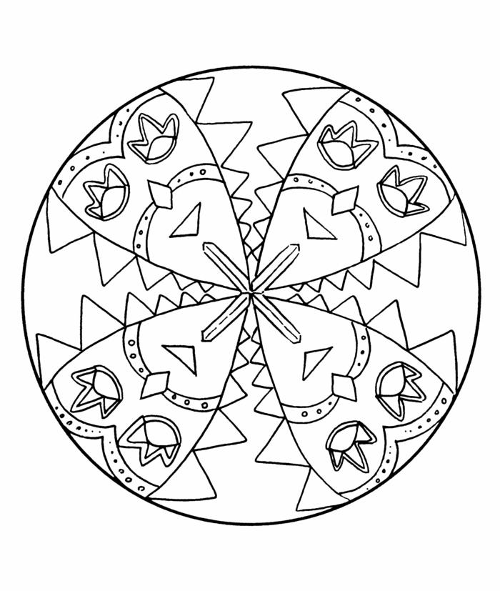 Bild in Kreisform mit vier abgebildeten Masken, Bilder zum ausdrucken kostenlos mit Mandala Muster