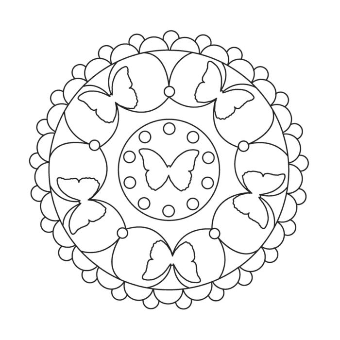 Zeichnung mit sechs Schmetterlingen, kleine Kreise, einfaches Mandala zum ausmalen Kinder