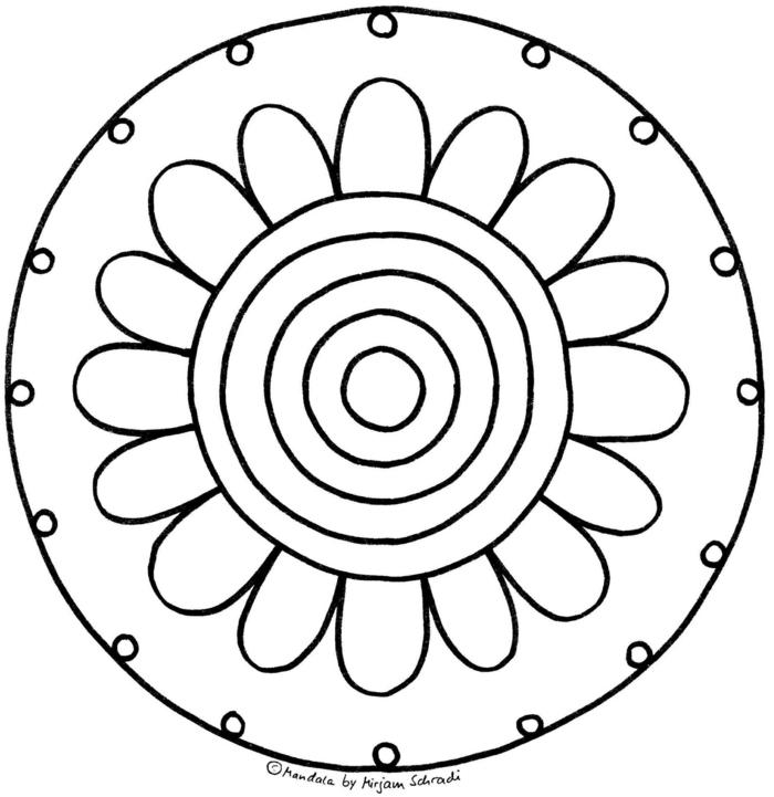 Mandala Ausmalbilder, Blume mit Blüte und kleinen und großen Kreisen, Bilder zum ausmalen