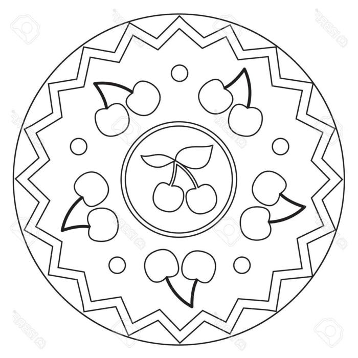einfaches ausmalbilder zum ausdrucken kostenlos, Mandala Muster mit geometrischen Figuren und Kirschen
