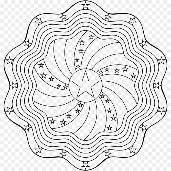 originelles Bild zum Ausmalen in Kreisform, Kreise mit Wellen und Sterne, Mandala Kinder