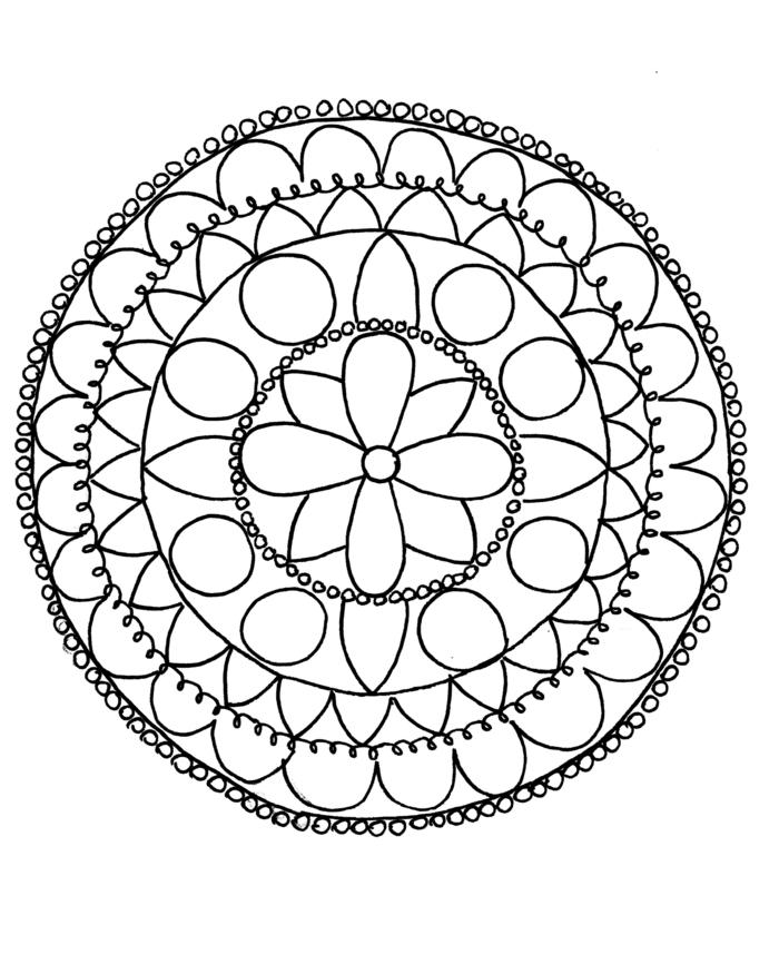Mandala zum ausdrucken, kreisförmiges Bild mit Blumen in der Mitte und kleinen und großen Kreisen