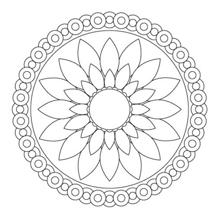 große Blume in der Mitte eines Kreises, Malvorlagen zum Ausdrucken mit Mandala Muster für Kinder