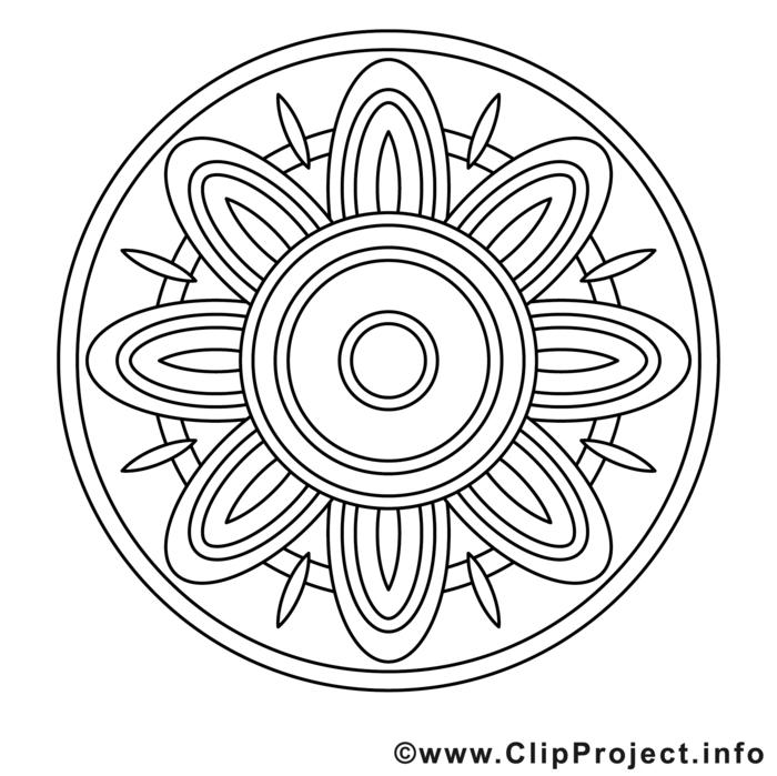 Mandala Kinder zum ausdrucken kostenlos, große Blume mit einem Kreis, kreative Tätigkeiten