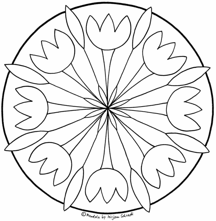 gezeichnete Blumen in einem großen Kreis und eine in der Mitte, Ausmalbilder zum Ausdrucken Mandala