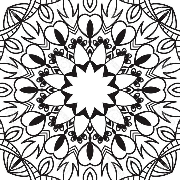 Mandala für Kinder, Frühlingsbilder zum Ausmalen, Blume in der Mitte einer Zeichnung, Herzen und geometrische Motive
