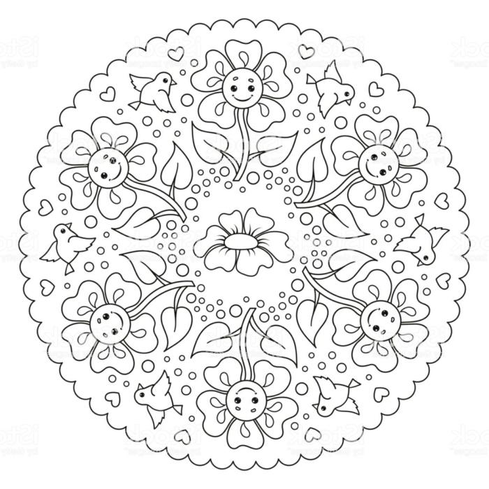 gezeichnete Sonnenblume und kleine Vögel, Blume in der Mitte, kleine Herzen, Ausmalbilder kostenlos Mandala