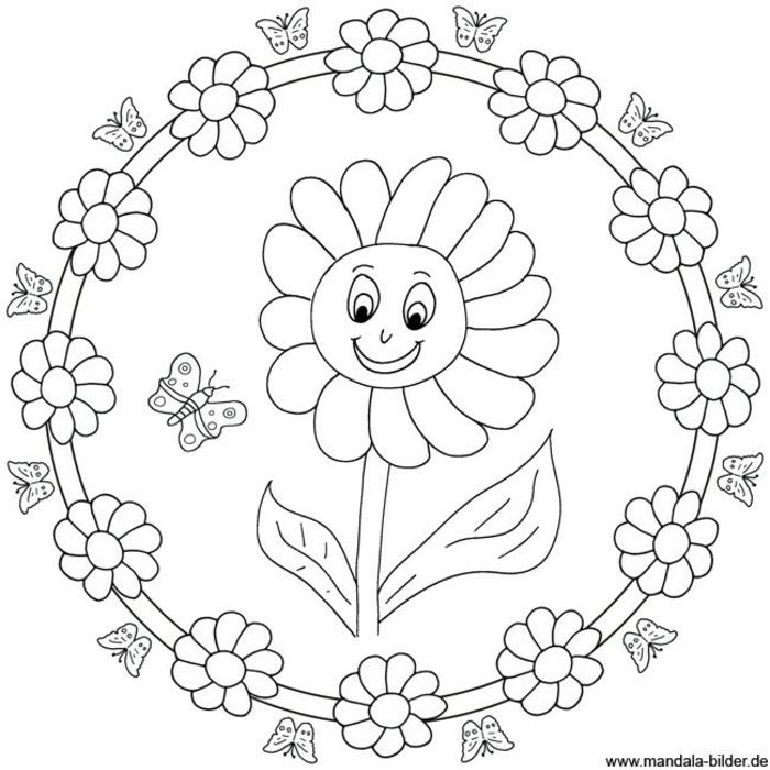 Zeichnung einer Sonnenblume mit Gesicht, kleiner Schmetterling, viele kleinere Blumen, Mandala zum Ausdrucken