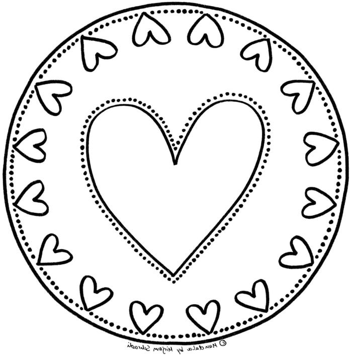 kreisförmiges Bild kleinen Herzen und einem großen Herz in der Mitte, Malvorlagen zum ausdrucken
