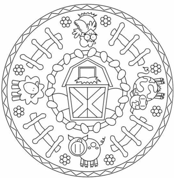 Ausmalbilder Mandala Tiere, Kuh und Schwein, Schaf und Hahn, Stal in der Mitte, kreisförmiges Bild
