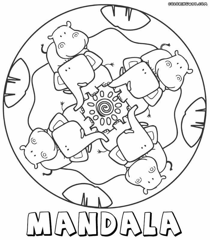 Kreative Mandalas zum ausdrucken mit Tieren, Elefanten und Nilpferde, Bilder zum ausmalen