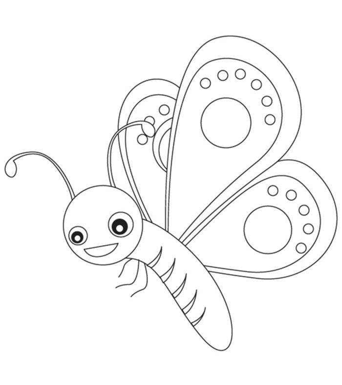 Zeichnung eines Schmetterling mit Mandala Figuren auf den Flügeln, Ausmalbilder zum Ausdrucken