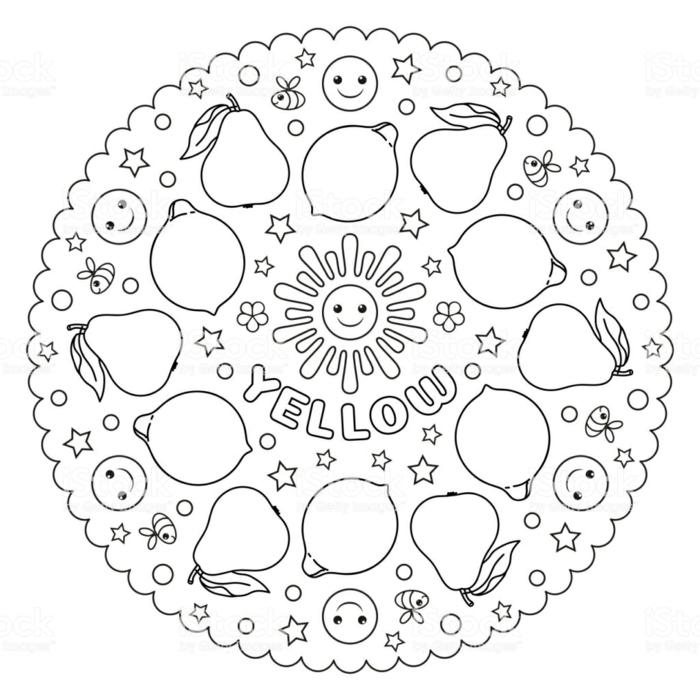 kreisförmiges Bild mit Zitronen und Birnen, Sonne in der Mitte, Mandala Kinder, Bienen und Smiley Faces