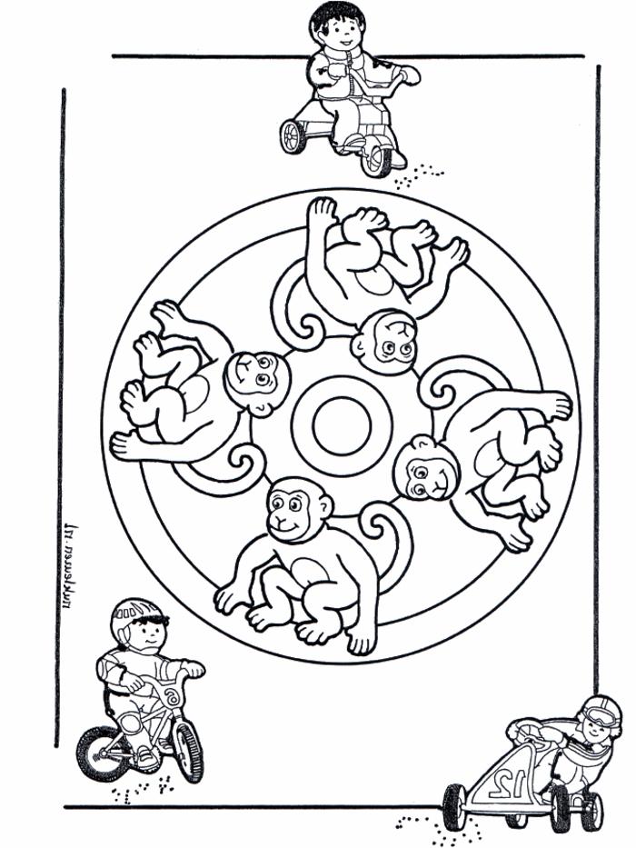 vier Zeichnungen von Affen in einem Kreis, Ausmalbilder zum Ausdrucken, Kinder auf Fahrräder