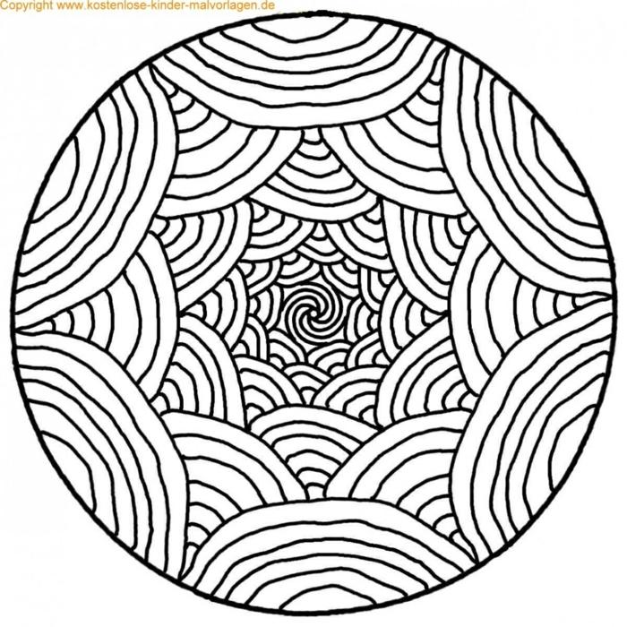 viele große und kleine Halbkreise Wellenformen, Bilder zum ausmalen, Mandala Ausmalbilder