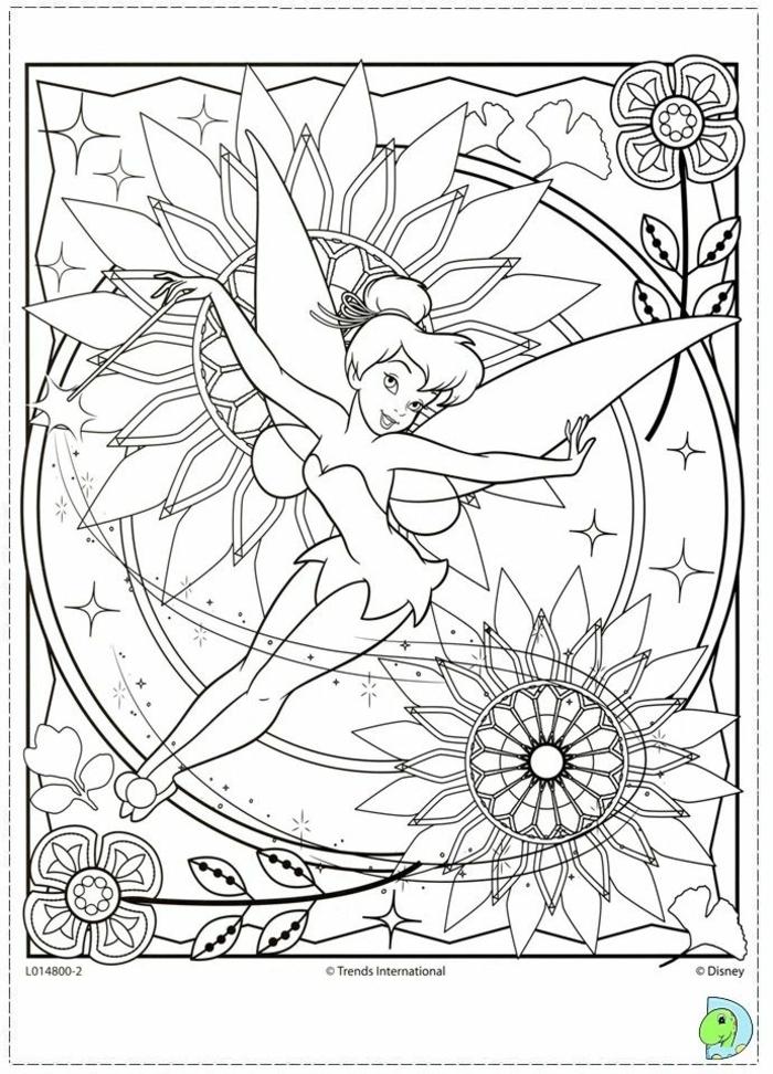 Zeichnung von Tinkerbell, Disney Film Peter Pan, Blumen mit Mandala Muster, Bilder zum ausdrucken kostenlos