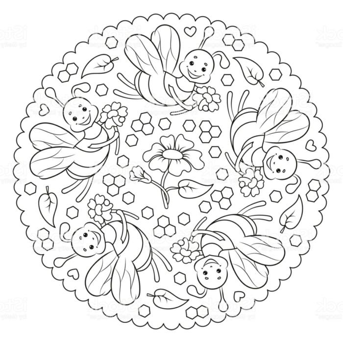 Bild mit gezeichneten Bienen mit lachenden Gesichter, Blume in der Mitte, kleine Sechsecke, Mandala Kinder