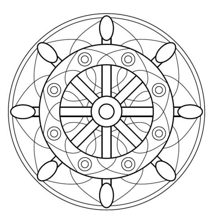 geometrische Formen in einem Kreis, Ausmalbilder Kostenlos mit Mandala Muster