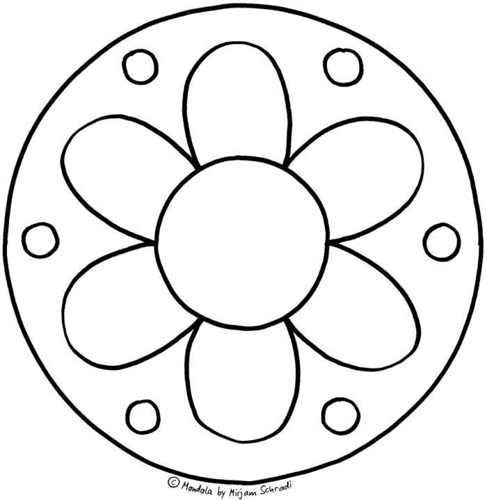 große Blume mit kleinen Kreisen, Ausmalbilder kostenlos Mandala, leichte Bilder zum ausmalen