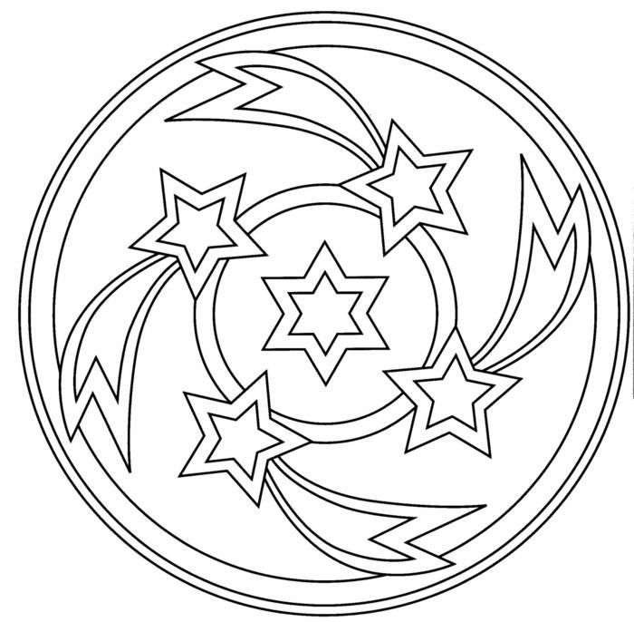 fünf Sterne in verschiedene Formen, kreative mandalas zum ausdrucken, Bilder zum ausmalen