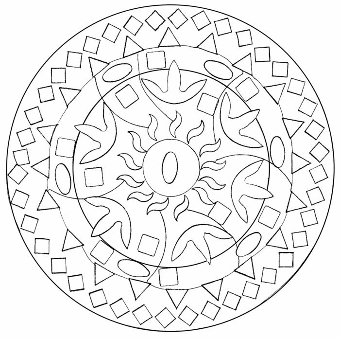 Kreise und Rechtecke, Vierecke und ovale Figuren, geometrische Formen, Mandala zum ausmalen