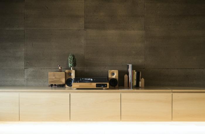 modern Stereo Anlage mit Holz, minimalistische Inneneinrichtung, Kommoden selber erstellen mit Tylko