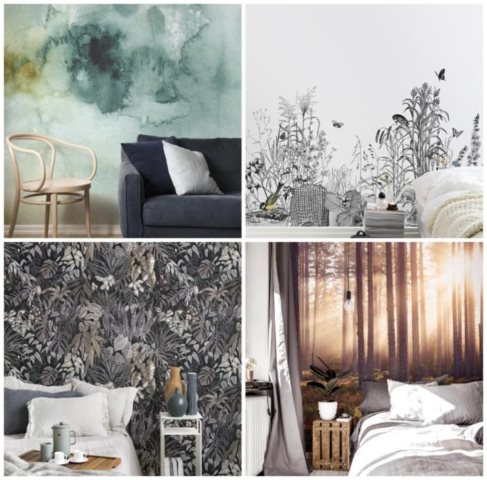 Collage von verschiedenen Fototapeten im Schlafzimmer und Wohnzimmer, Wohnzimmerwand gestalten
