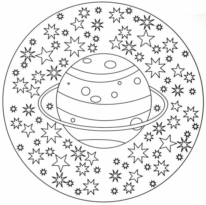 kreisförmiges Bild mit großem Planeten und vielen Sternen, Mandala Ausmalbilder für Kinder