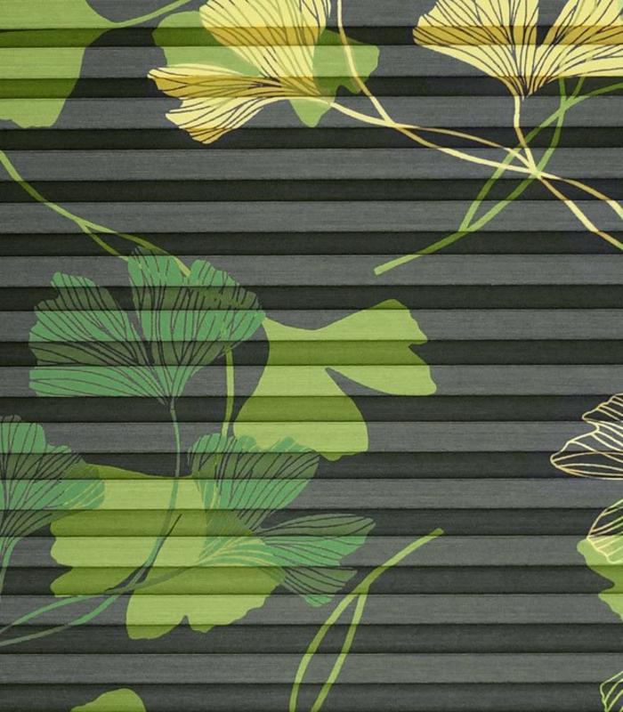 plissee mit muster ginko, made in germany, plissees mit floralen motiven von der firma sensuna