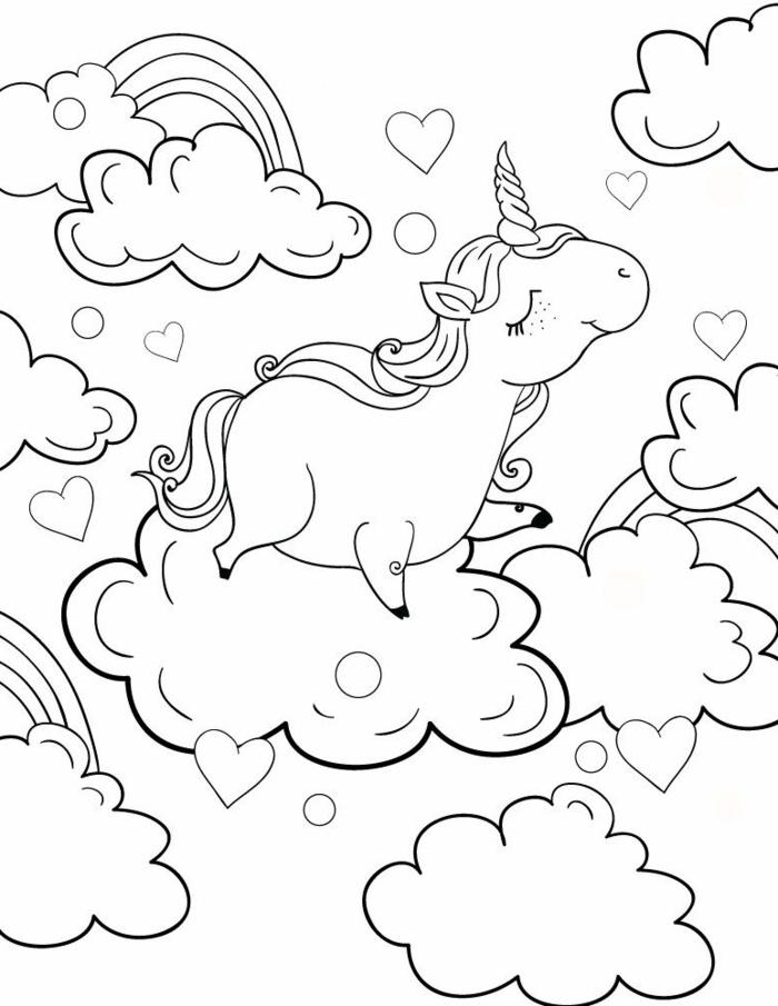süße einhorn bilder, unicorn in den wolken, herzen und kreise, ausmalbild