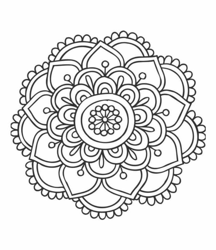 Verschiedene Formen von Blumen, Ausmalbilder zum Ausdrucken kostenlos mit Mandala Muster