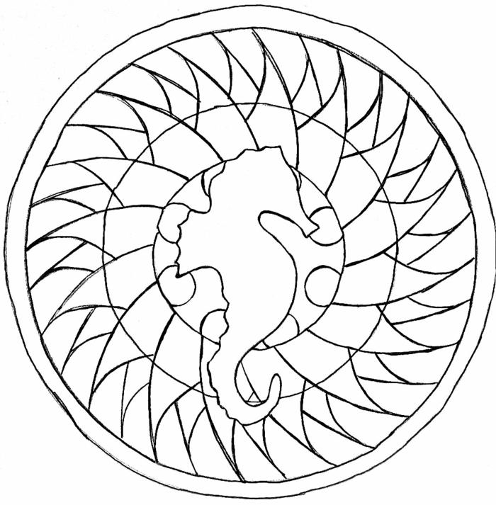 kleiner Seepferd in der Mitte eines Kreises, Ausmalbilder Mandala Tiere, geometrische Figuren