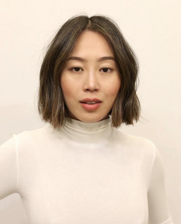 Bild von Influencerin Aimee Song, braune Haare, Trendfrisuren 2020 Damen Bob Schnitt,