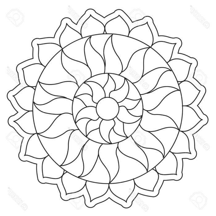 Mandala Ausmalbilder, Blumen Muster mit kleinen und großen Sonnen, Bilder zum ausmalen