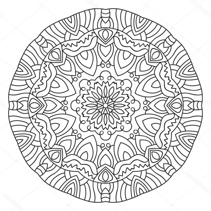 schönes und kreative Mandala Bild mit verschiedenen Formen und Figuren, Blume in der Mitte, Ausmalbilder kostenlos