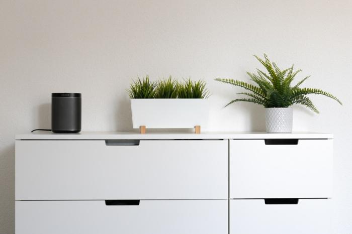 moderne weiße Kommode mit zwei grünen Pflanzen obendrauf, Tylko Möbel, Chest of drawers,