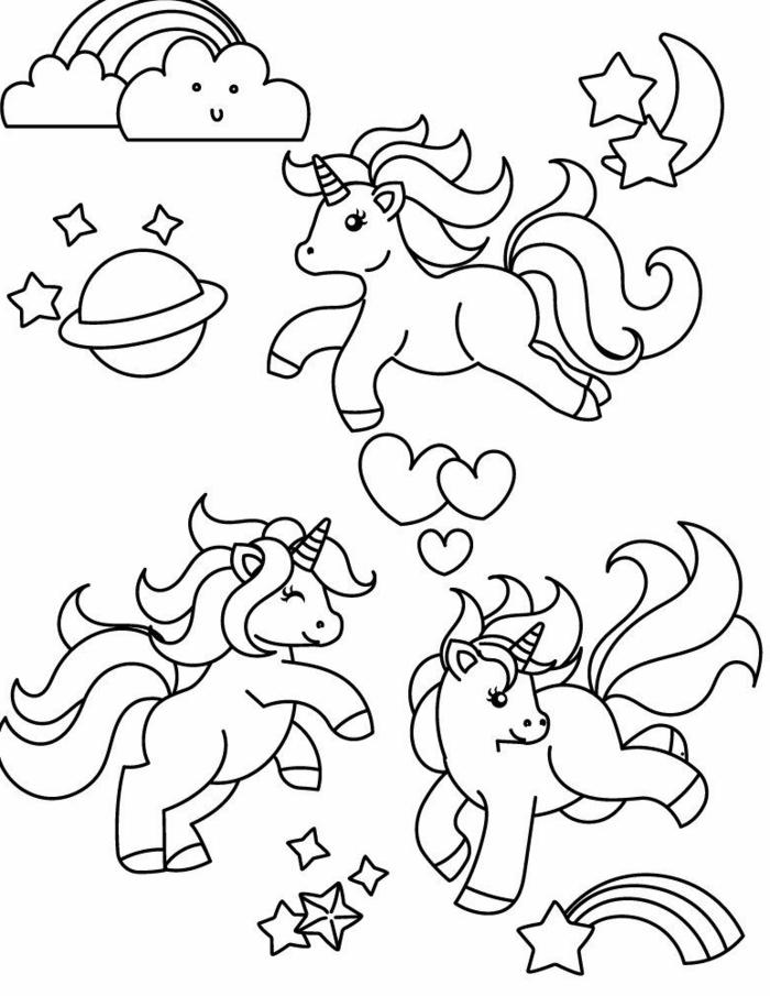 unicorn bilder, viele einhörner im himmel, süße ausmalbilder für kinder